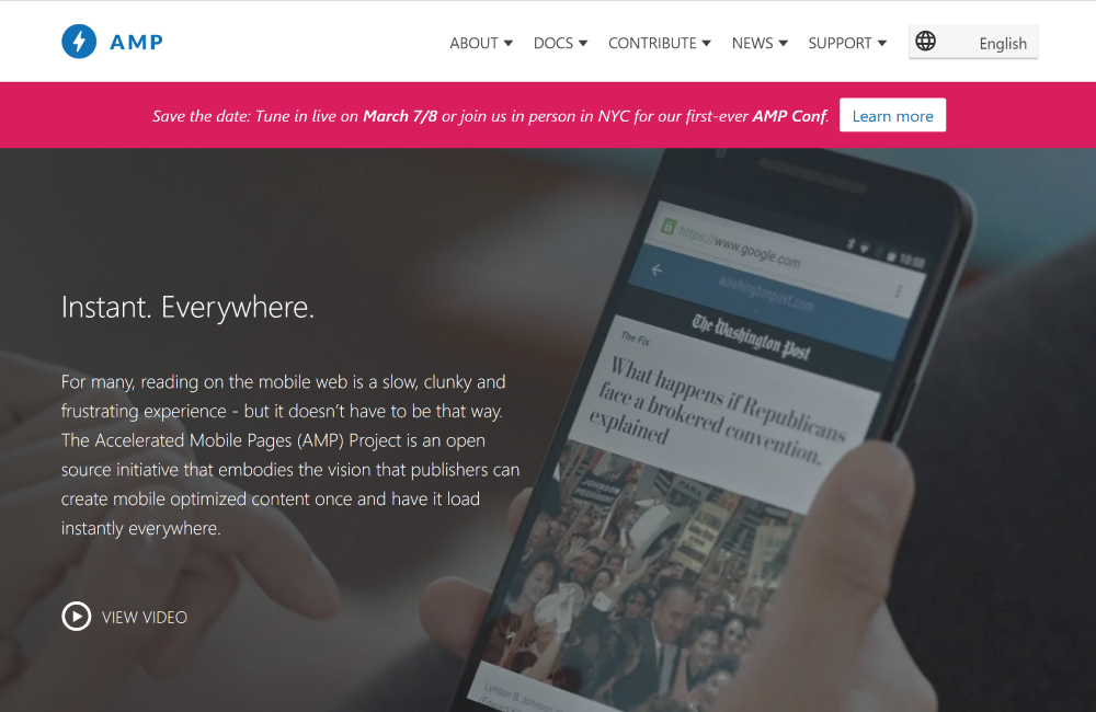 AMPとは、Accelerated Mobile Pages の略